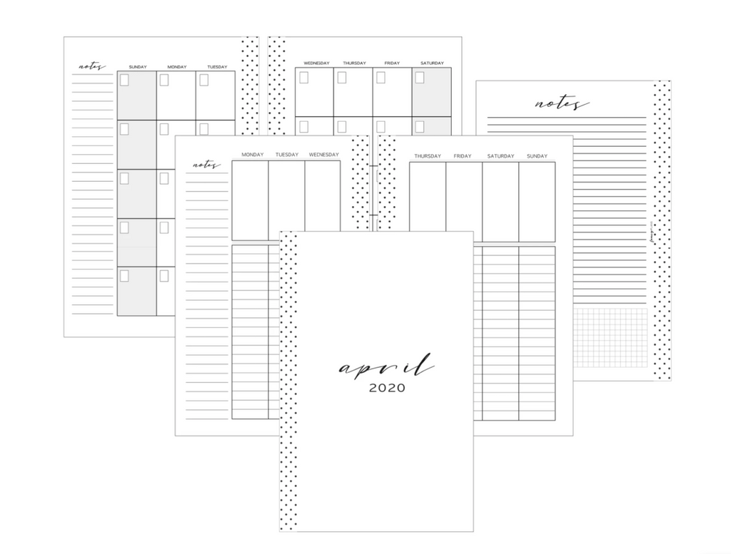 Vertical Lined Planner Inserts MONDAY START <Un-Dated PRINTED AND SHIPPED>