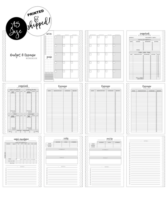 Budget Workbook [Month + 1 Week] Planner Inserts <PRINTED AND SHIPPED>