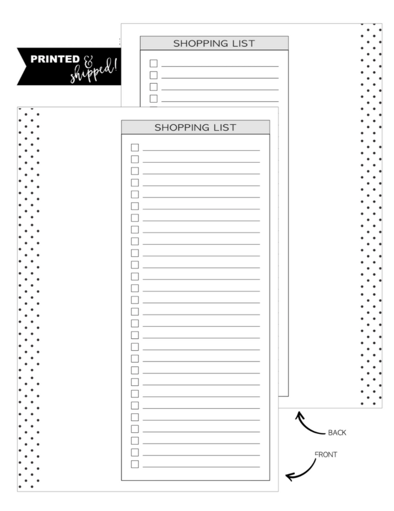 Shopping List Inserts <PRINTED AND SHIPPED>