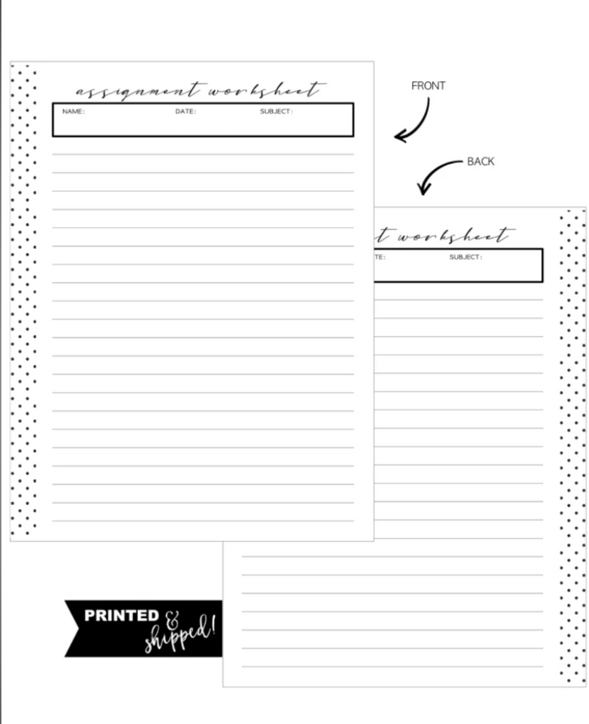 Assignment Fill Paper Inserts <PRINTED AND SHIPPED>