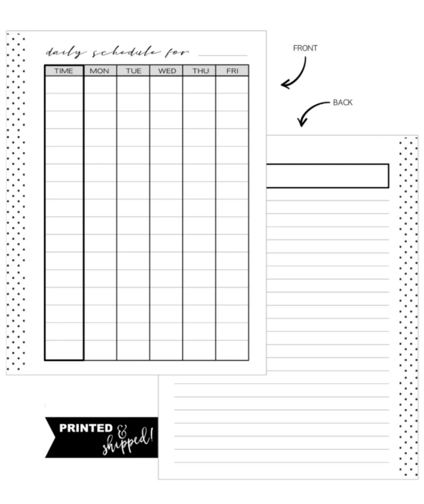 Daily Schedule Fill Paper Inserts <PRINTED AND SHIPPED>