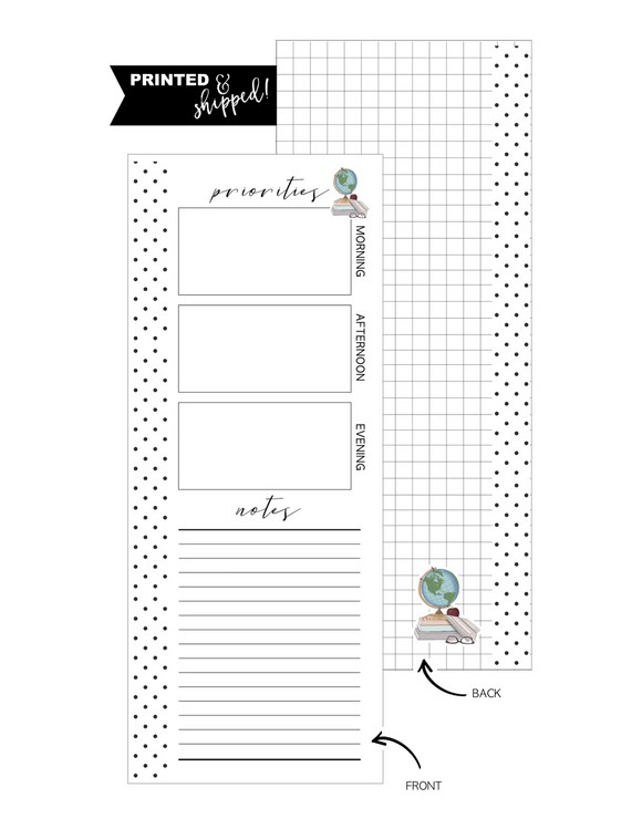 Priorities Globe Icon Fill Paper <PRINTED AND SHIPPED> Half Sheet