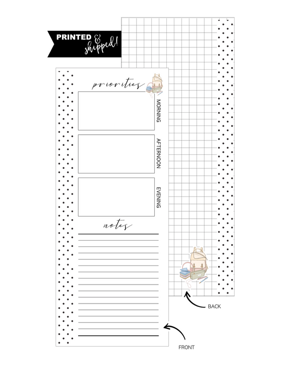 Priorities Bookbag Icon Fill Paper <PRINTED AND SHIPPED> Half Sheet