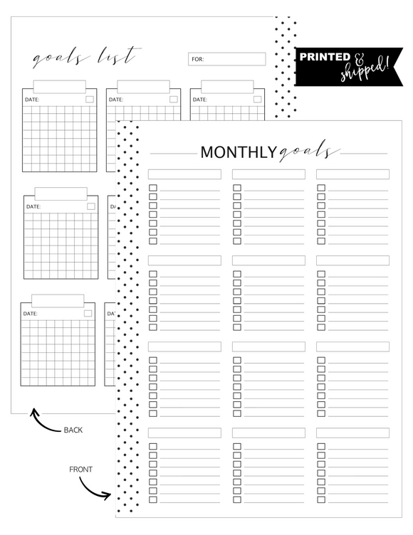 Goals List Monthly Fill Paper <PRINTED AND SHIPPED>
