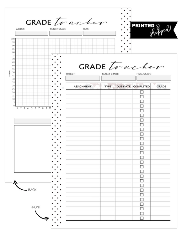 Grade Tracker Fill Paper <PRINTED AND SHIPPED>