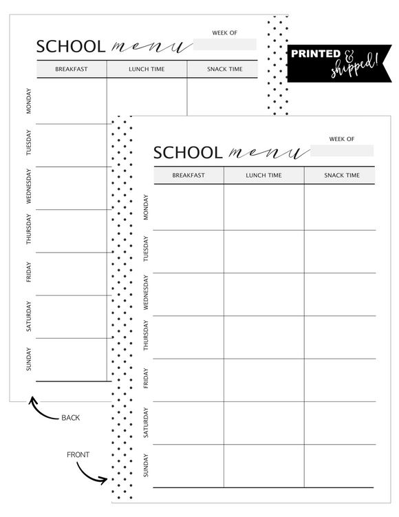 School Menu Fill Paper <PRINTED AND SHIPPED>