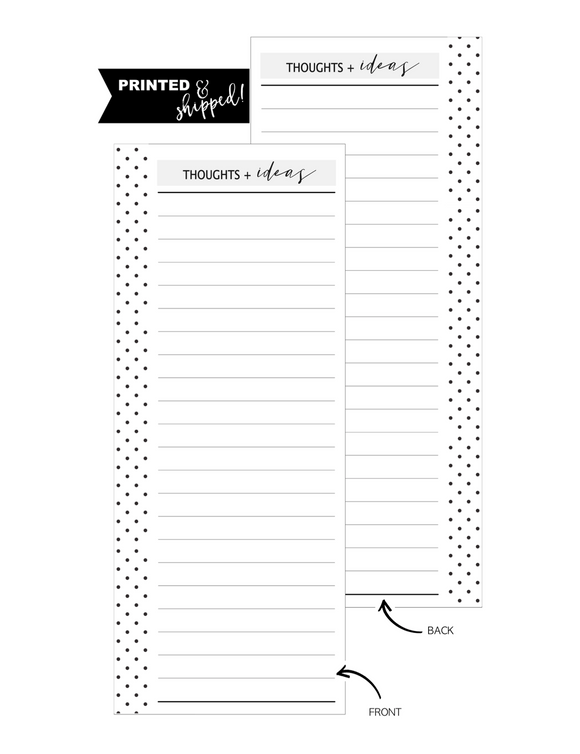 Thoughts and Ideas Fill Paper  HALF SHEET <PRINTED AND SHIPPED>