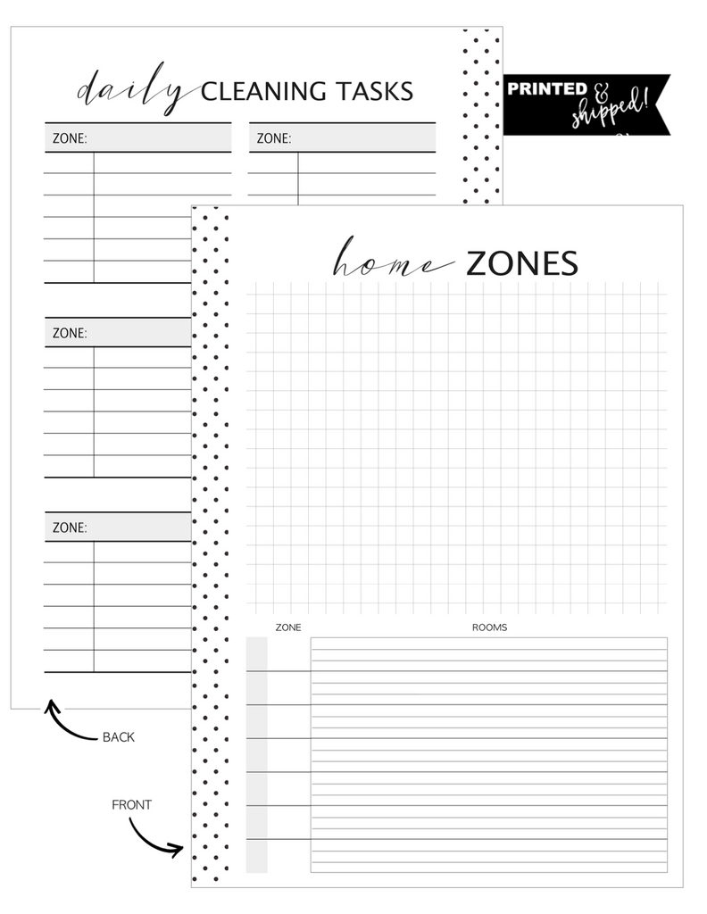 Zone Cleaning Workbook Bundle Inserts <PRINTED AND SHIPPED>