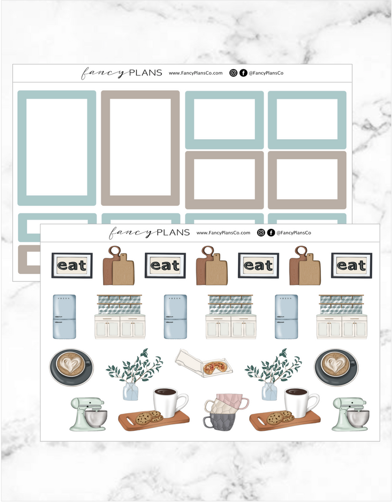 Simply Delicious TEAL + BROWN| BOXES + ICONS