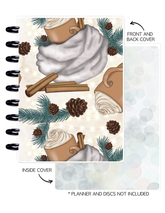 Cover Set of 2 WINTER VIBES Pine Cones + Hot Chocolate <Double Sided Print>