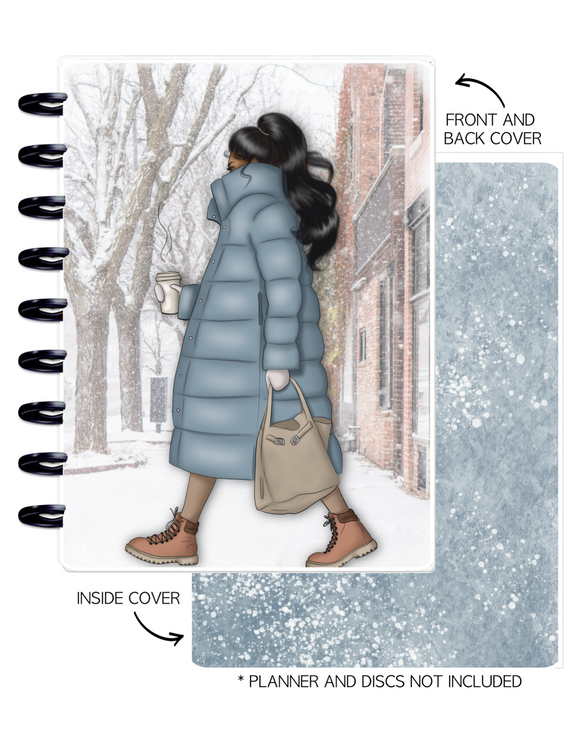 Cover Set of 2 WINTER VIBES Girl in Coat <Double Sided Print>