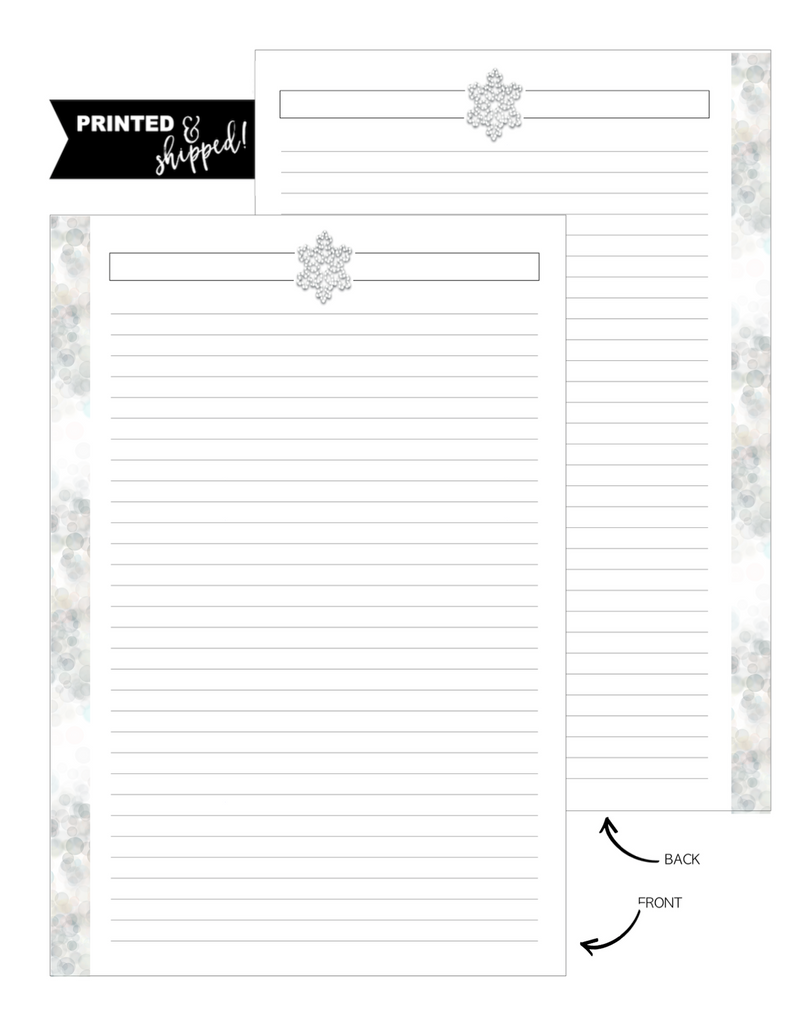 Snow Flake WINTER VIBES Fill Paper <PRINTED AND SHIPPED>