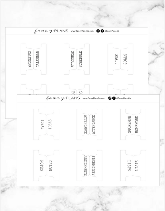 Fold Over General Education Divider Tabs | TYPE FONT