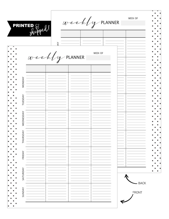 Weekly Planner Grid Fill Paper Inserts LINED <PRINTED AND SHIPPED>