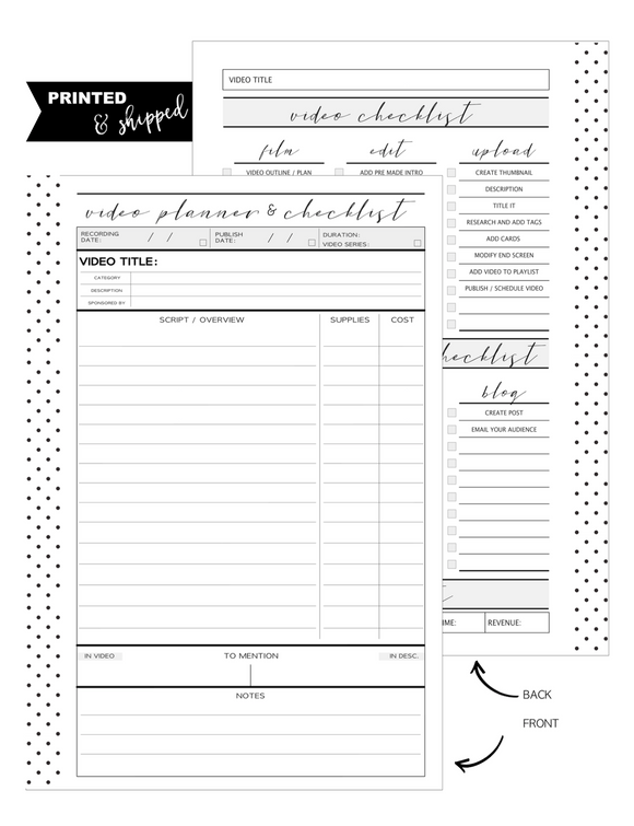 Youtube Planner and Checklist Fill Paper Inserts <PRINTED AND SHIPPED>