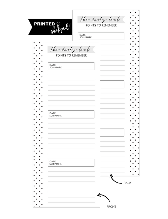 Daily Text Scripture Fill Paper HALF SHEET <PRINTED AND SHIPPED>