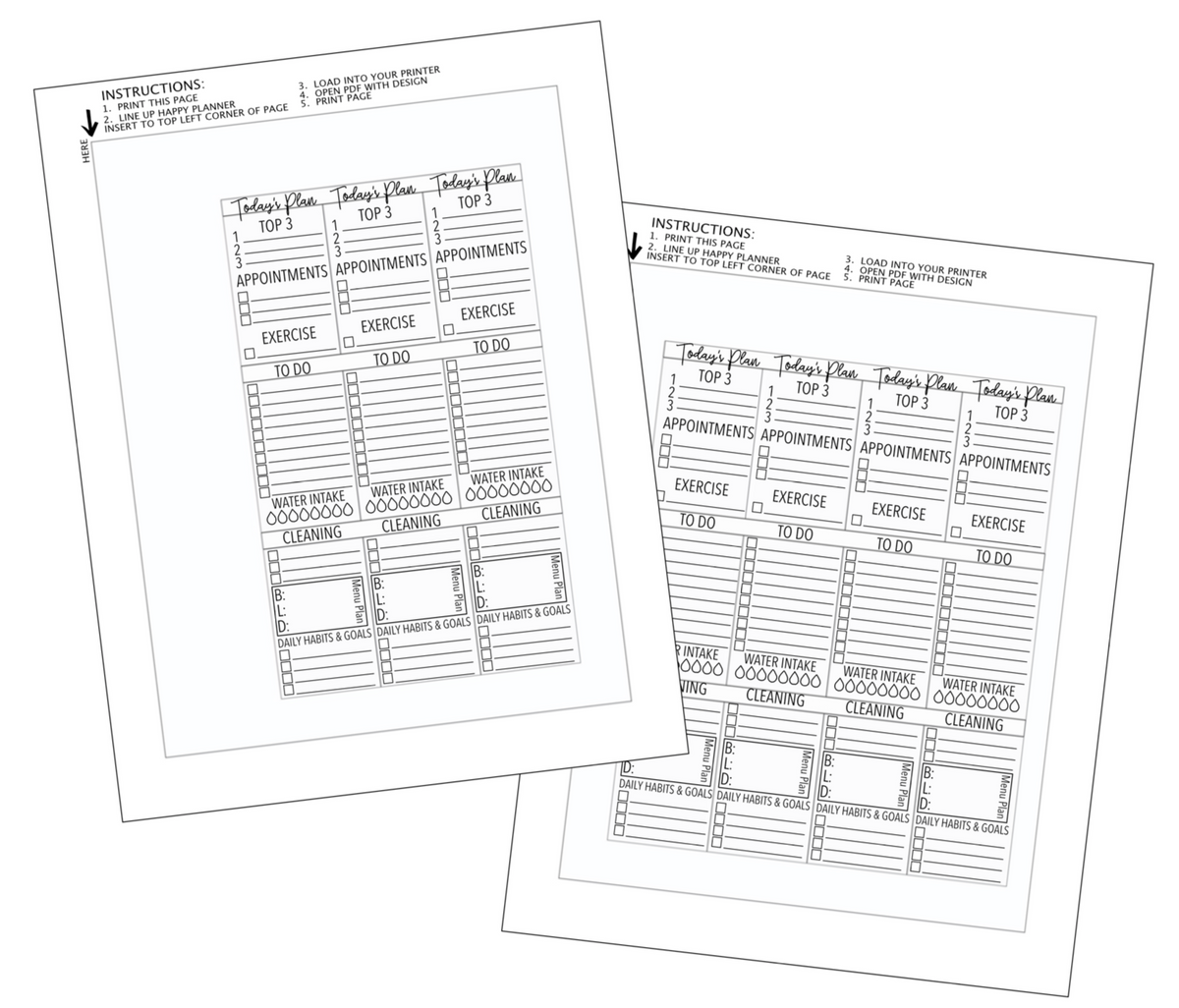 Template For Printing On Happy Planner Inserts with Top 3
