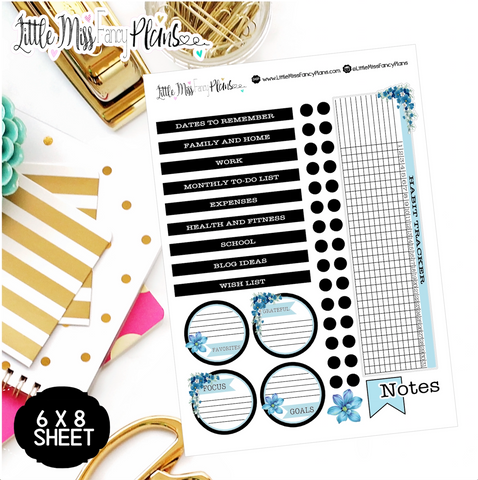 Black and Chalky Blue EC Notes Page Kit | Erin Condren