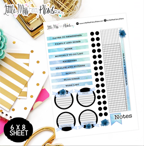 Watercolor Blue EC Notes Page Kit | Erin Condren