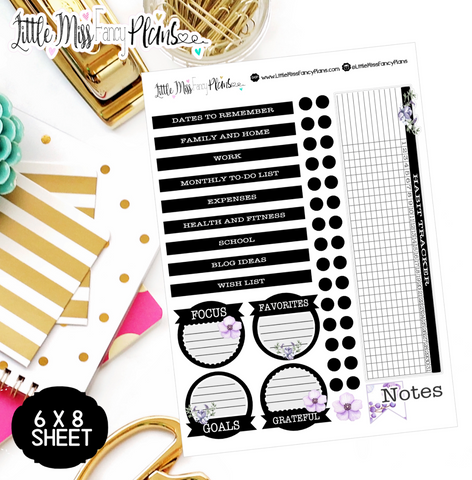 Black and Lavendar EC Notes Page Kit | Erin Condren