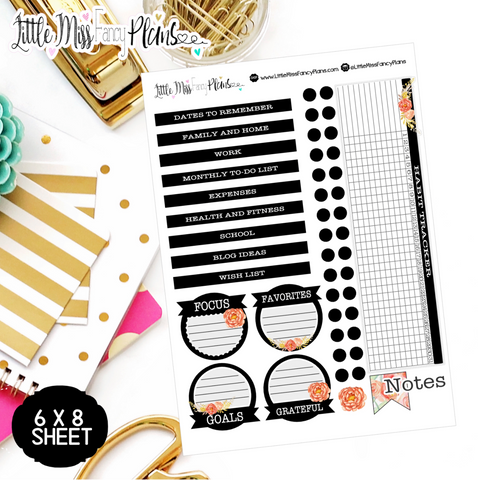 Black and Peach EC Notes Page Kit | Erin Condren