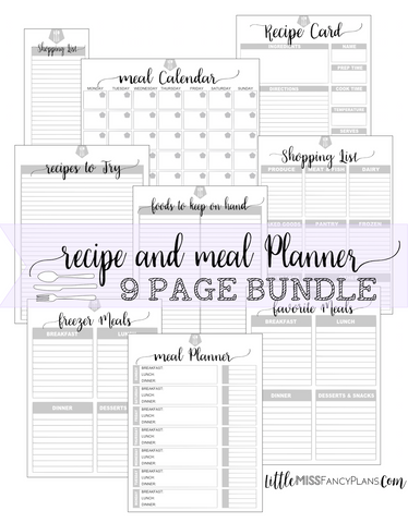 Meal and Recipe Planner Insert Kit <Printables>  | Erin Condren, Happy Planner Stickers, Personal Planner