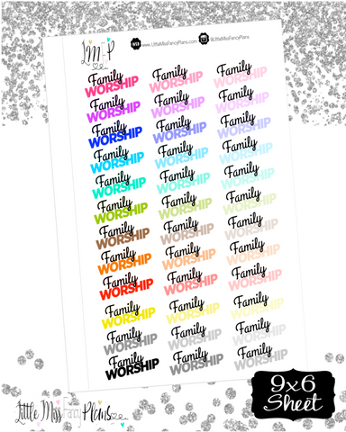 Family Worship Stickers | Erin Condren, Happy Planner Stickers, Personal Planner