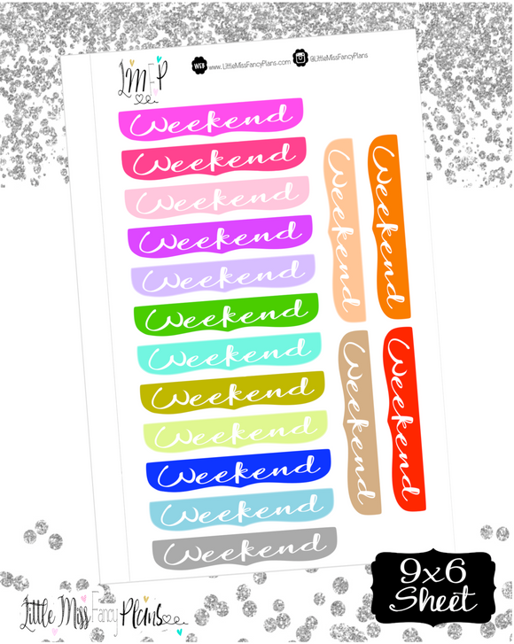 Decorative Weekend Banners | Erin Condren, Happy Planner Stickers, Personal Planner