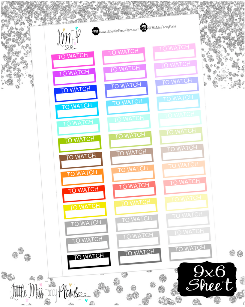 To Watch <Label Boxes> - Erin Condren, Happy Planner Stickers