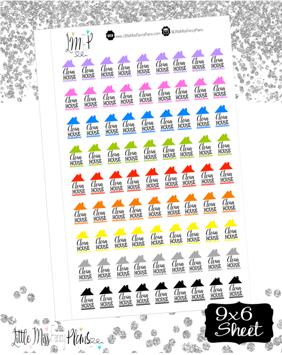 Clean House Stickers | Erin Condren, Happy Planner Stickers, Personal Planner
