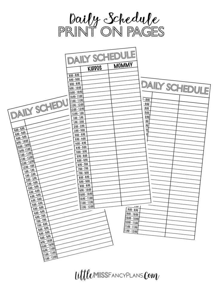 Daily Schedule Print On For Half Sheets | Classic Size Happy Planner