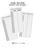 Daily Schedule Print On For Half Sheets <Printables> | Classic Size Happy Planner