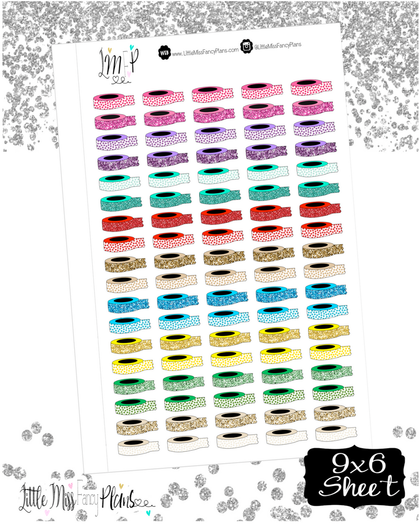 Washi Roll Glitter Icon Stickers <Little Icons> | Erin Condren, Happy Planner Stickers, Personal Planner
