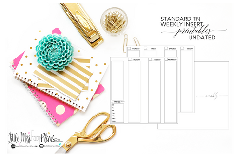 UNDATED Weekly Calendar TN Planning Inserts <Printables> | Standard Travelers Notebook