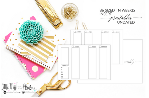 UNDATED Weekly Calendar TN Planning Inserts <Printables> | B6 Travelers Notebook