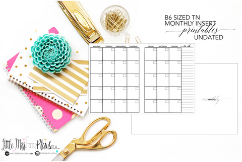 UNDATED Monthly Calendar TN Planning Inserts <Printables> | B6 Travelers Notebook
