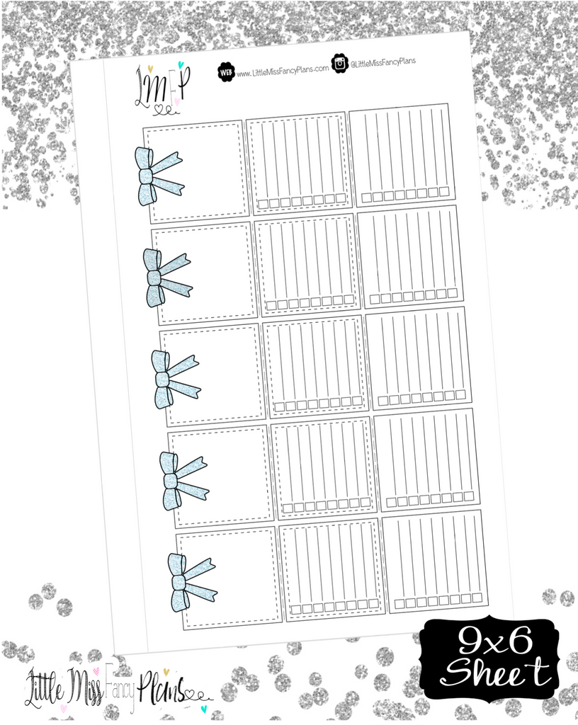 Tri Fold Double List Stickers <Light Blue Glitter>