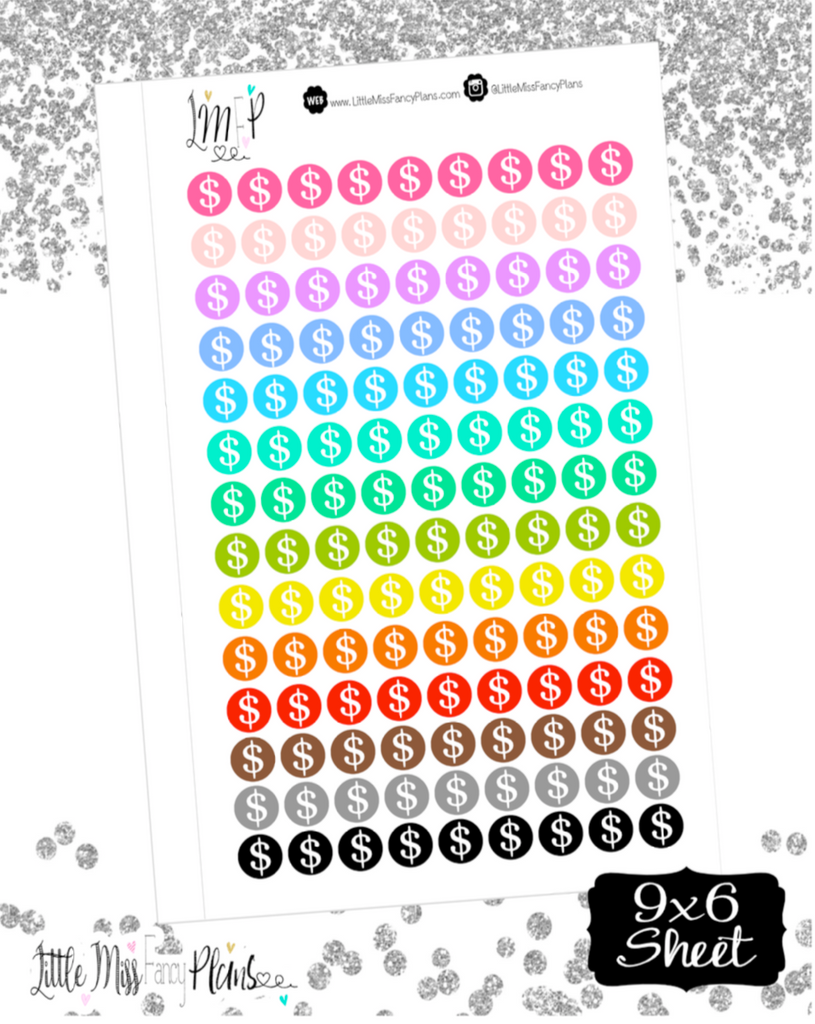 Dollar Sign Dots Stickers <Little Dots>