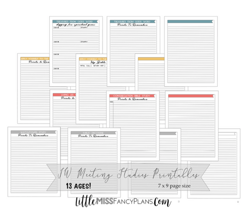 JW Meeting Planning Inserts <Printables> | Classic Size Happy Planner