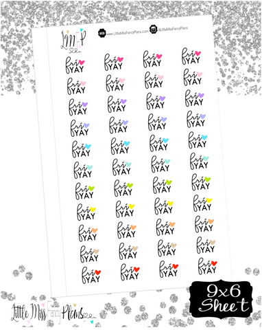 Fri Yay With Heart <Wording Stickers>
