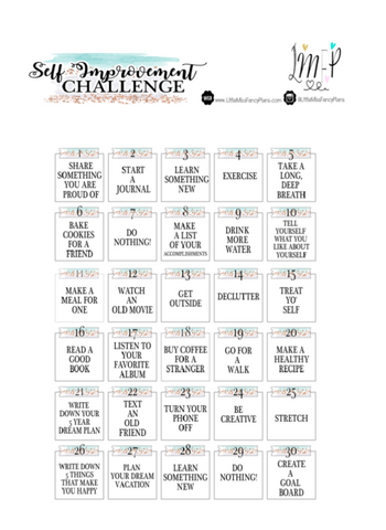 30 Day Self Improvement Challenge  <Printables> | Classic Size Happy Planner