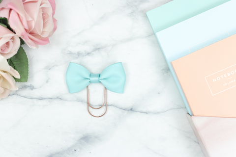 Light Teal Single Bow Paper Paper Clip