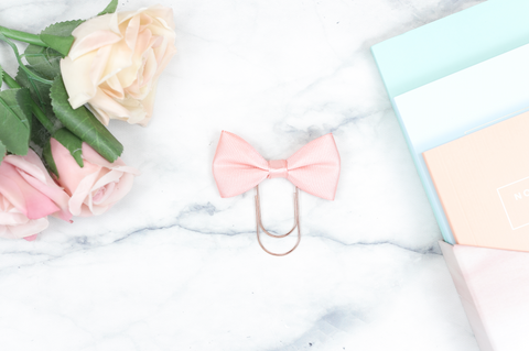 Blush Peach Single Bow Paper Paper Clip