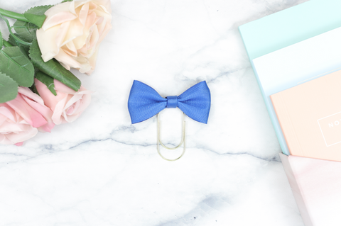 Royal Blue Single Bow Paper Paper Clip
