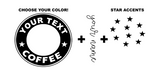 Personalized Starbucks Cup Decals w/Star Accents
