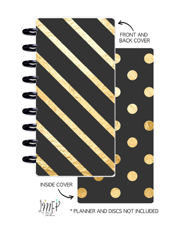 Half Sheet Cover Set of 2 <Double Sided Print> Black And Gold Stripes and Dots