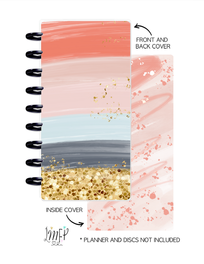 Half Sheet Cover Set of 2 <Double Sided Print> Peach Gold Glitter and Blue
