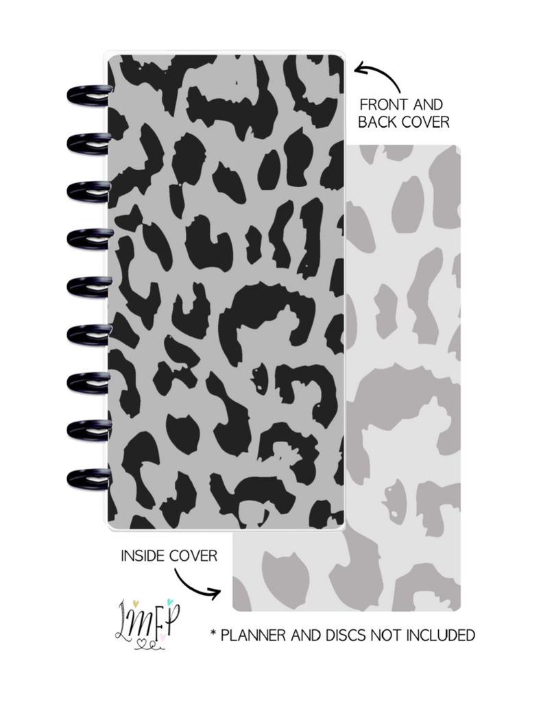 Half Sheet Cover Set of 2 <Double Sided Print> Cheetah Black and Grey