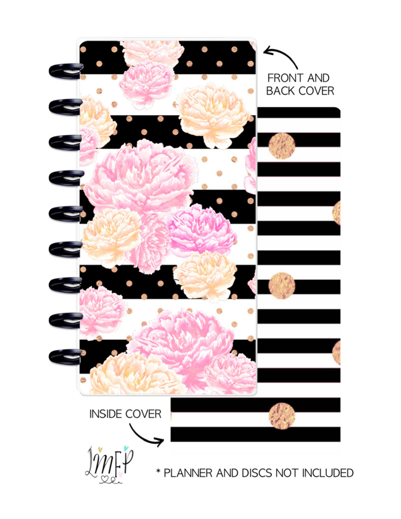 Half Sheet Cover Set of 2 <Double Sided Print> Black and White Striped Floral