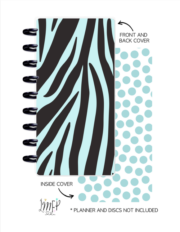 Half Sheet Cover Set of 2 <Double Sided Print> Zebra Print Teal
